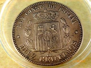 Moneda de 10 Centimos Alfonso XII 1878  10_CENT_1878_REVERSO