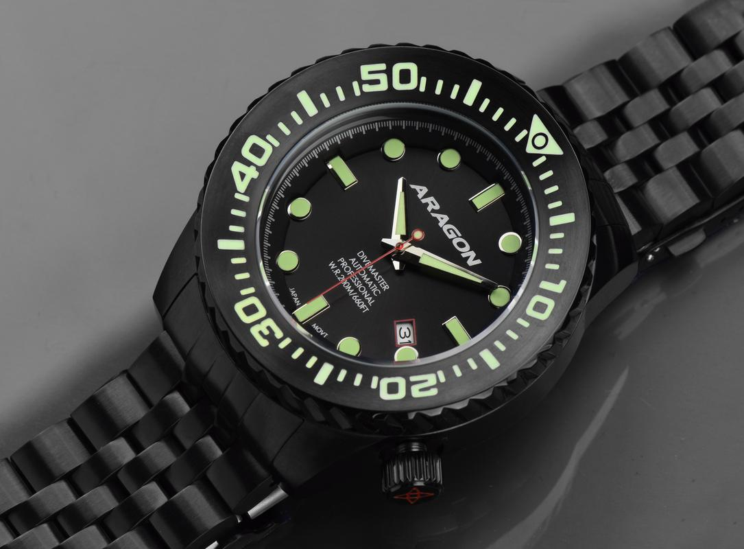 Aragon Divemaster EVO Automatic in 45mm IP black. A253_BLK