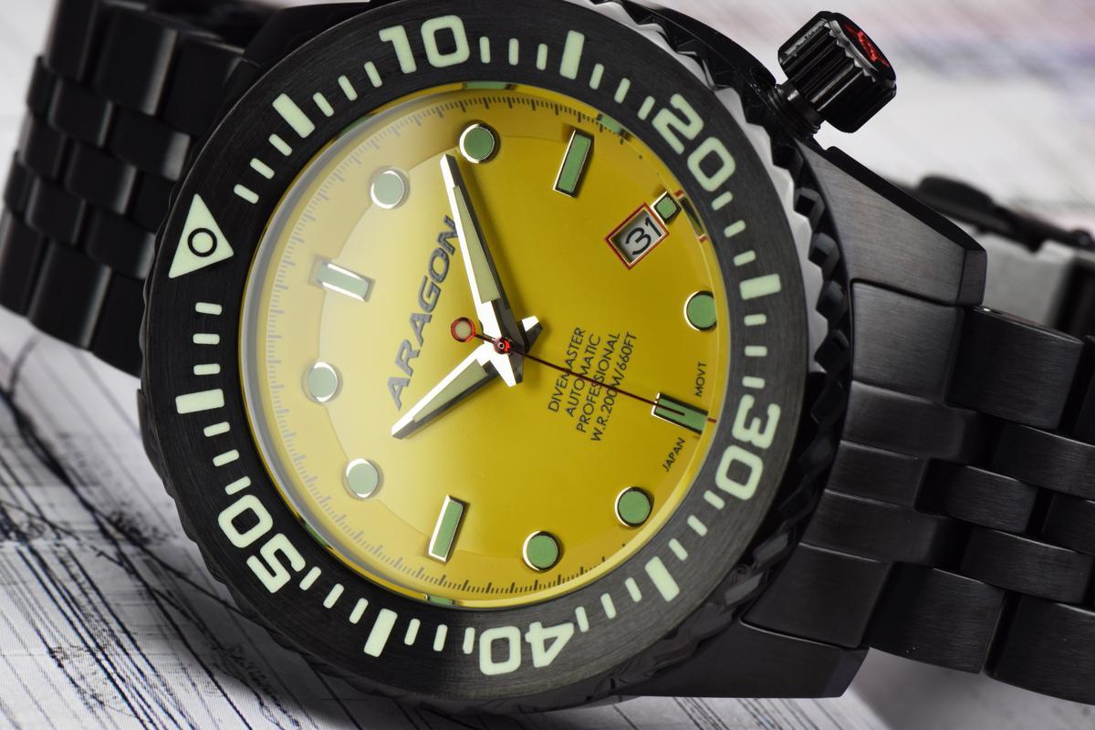 45mm + IP black + yellow dial + Divemaster = EVO. A253_YEL-2