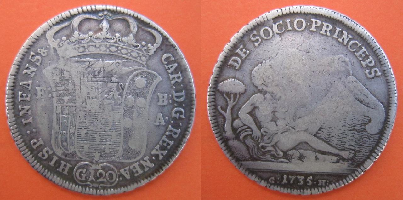 Piastra del Rey Carlos de Borbón, mas tarde  Carlos III. 1735 Nápoles  Piastra_N_poles_1735