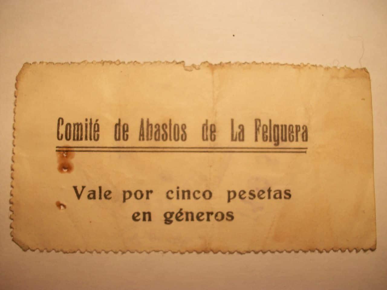 5 Pesetas Comité de abastos de La Felguera 1936 100_1563
