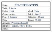 LIECHTENSTEIN  Krone 1904 Liechtenstein_1_Krone_1904_Ficha