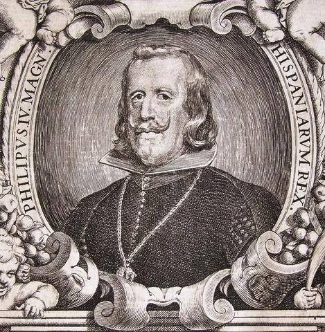 Grabado retrato de Felipe IV. 1657. Autor Pedro de Villafranca. Dedicado a Jotasoler 100_2289