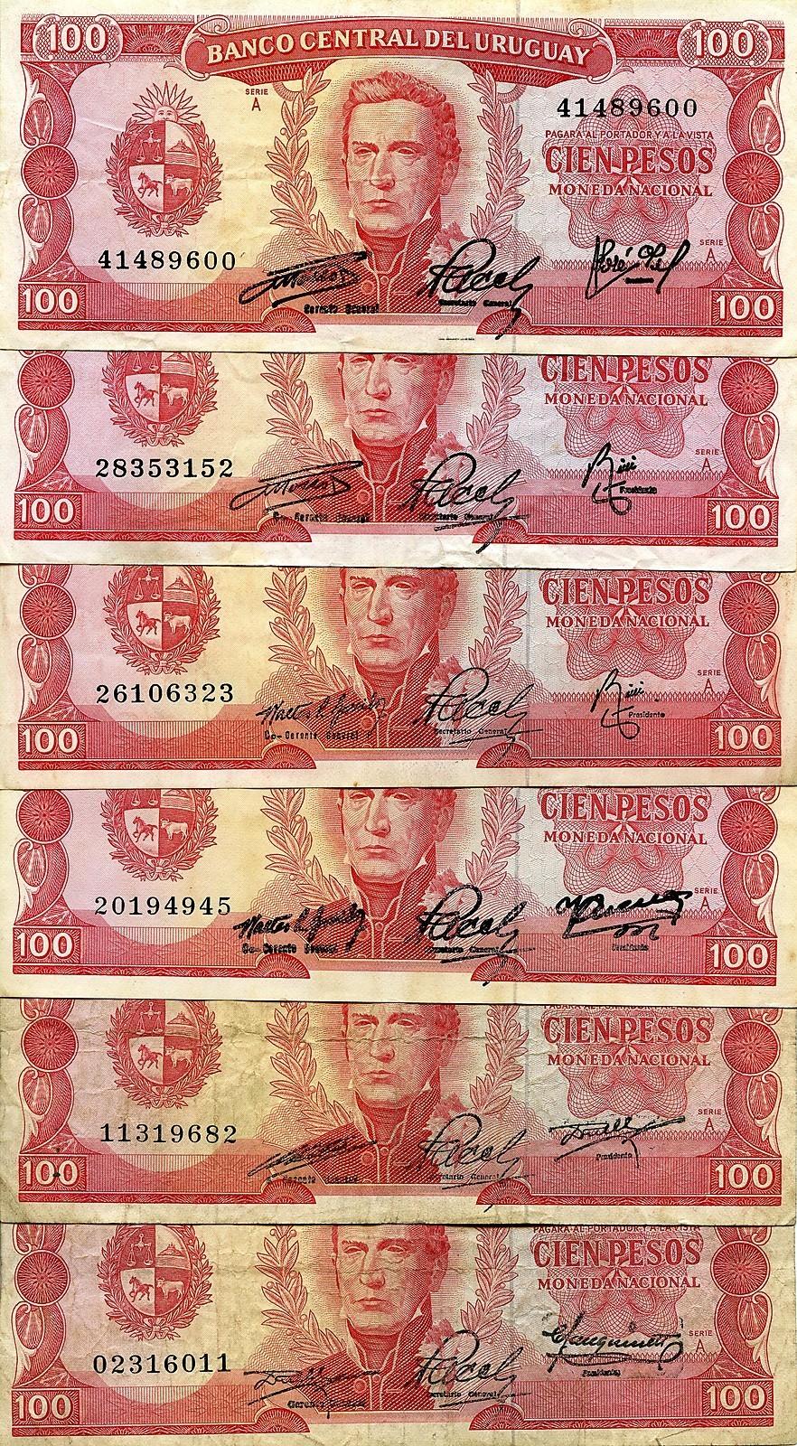 100 Pesos Uruguay, 1967 ? 00001