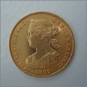 """100 Reales 1862 Isabel II Sevilla """" estrella de 7 puntas"""" Image"""