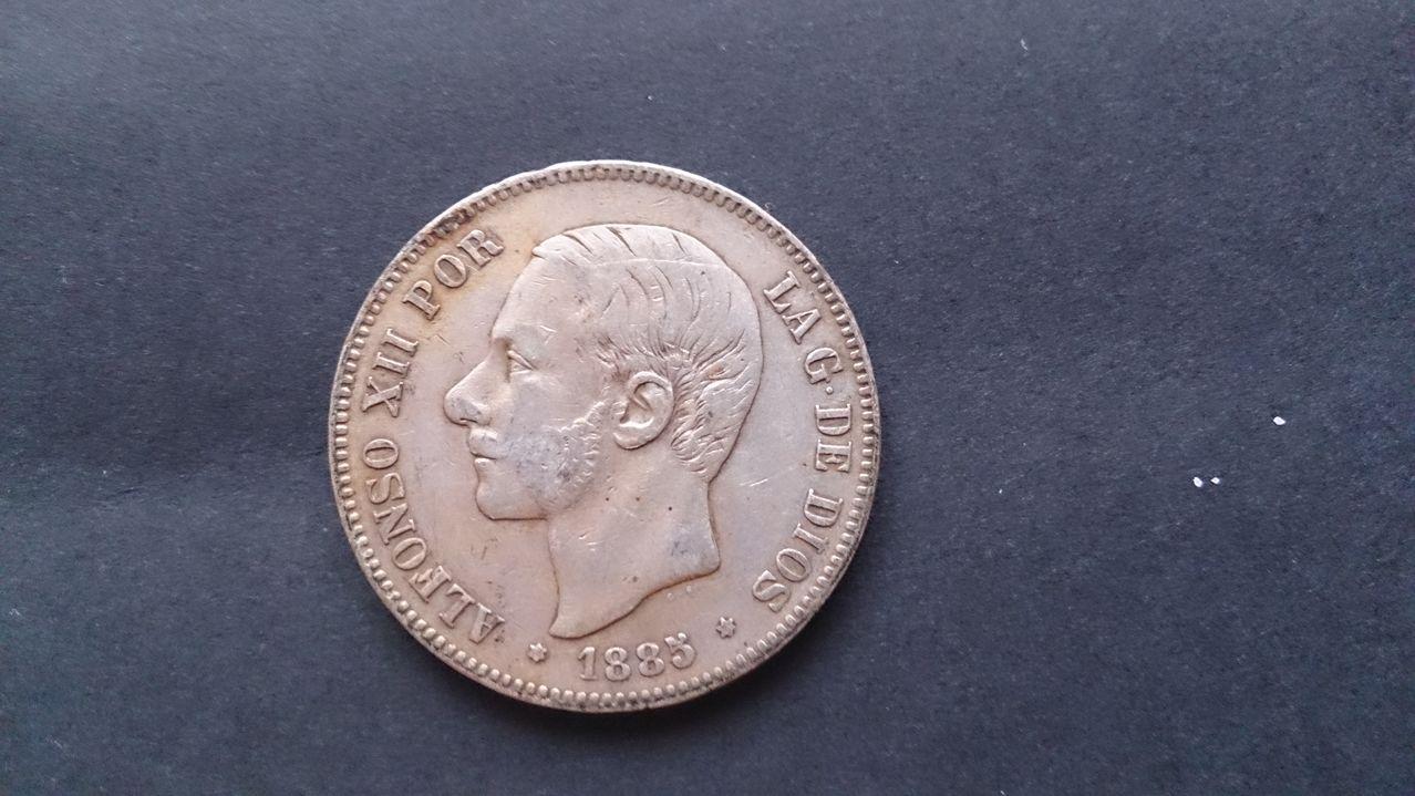 5 pesetas 1885 *(18-87). Alfonso XII.  DSC_3260