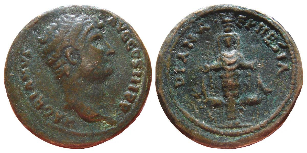 AE28 de Adriano. DIANA EPHESIA Image