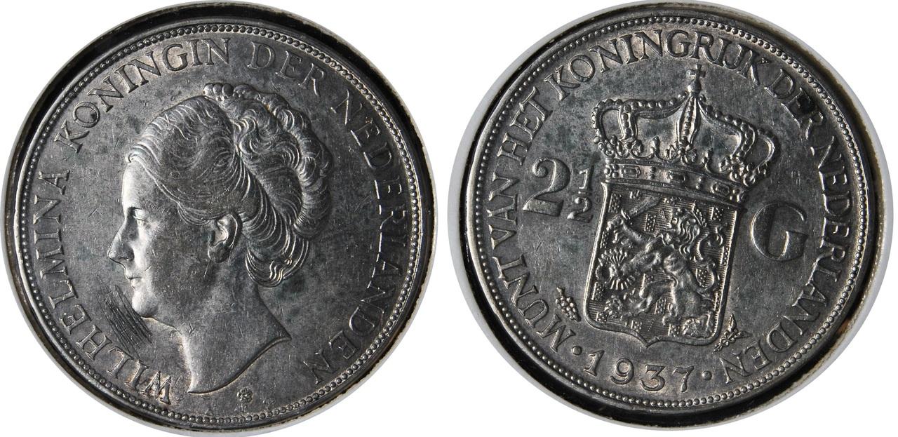 2 1/2 Gulden. 1937. Guillermina. Utrech 5gg1937