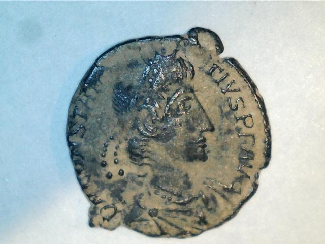 AE3 de Constancio II. FEL TEMP RE-PARATIO. Soldado alanceando a jinete caido. Ceca Aquilea. 2016_10_21_0001_0_X