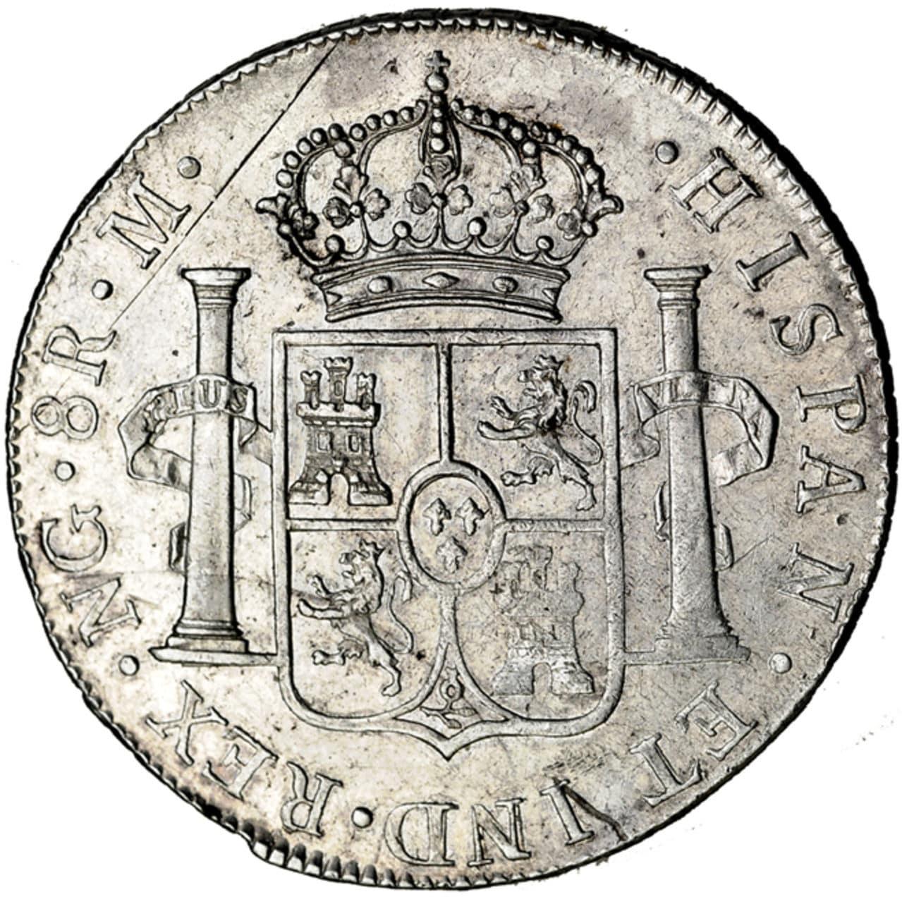 8 Reales 1809 M. Fernando VII. Nueva Guatemala (NG). 621r