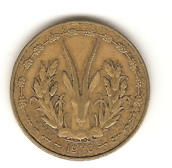 5 francos de estados de áfrica  occidental año 1970 Image