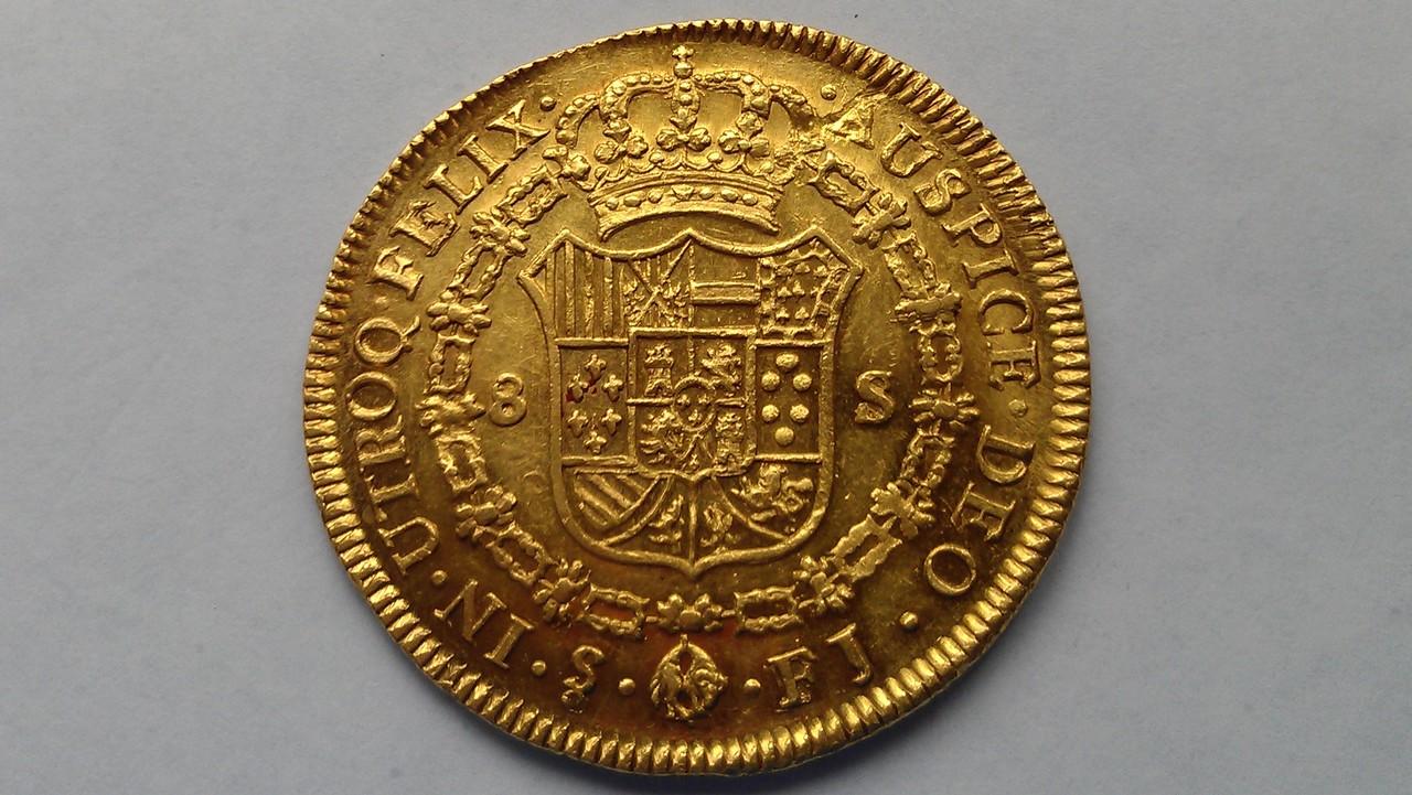 """Onza. 8 escudos Fernando VII 1810 SANTIAGO  """"Variante ceca"""" IMAG1058"""