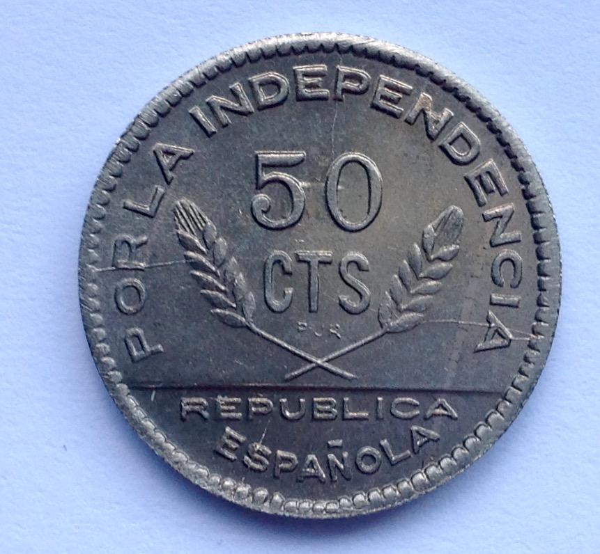 50 céntimos 1937 Consejo Santander, Palencia y Burgos. La evolución de un cuño para debatir. Image