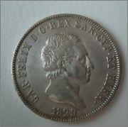 5 Lire 1829 Carlo Felice ,Reyno de Cerdeña (Italia) Image