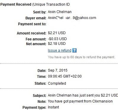 1º Pago de Clixmansion ( $2,21 ) Clixmansionpayment