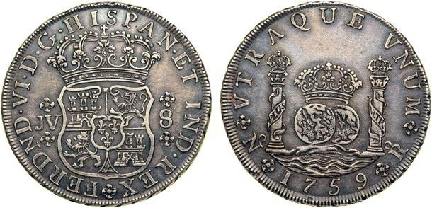 """8 reales """"columnario"""" de Madrid, 1729 [Prueba] Fernando_VI_8_reales_1759_Nuevo_Reino_109_250"""