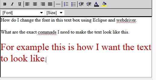 Selenium WebDriver How TO change Font Size Using Eclipse Capture
