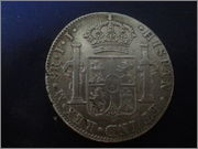 Moneda de plata de España, reinado de Fernando VII, valor facial 8 reales (26,83gr), emisión 1821, ceca MEJICO, ensayadores JJ. 20140122_134719