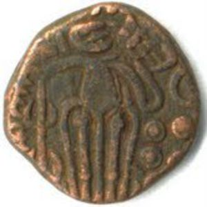 Moneda de Raja Raja chola 1_Rupee_King_Raja_Raja_Chola