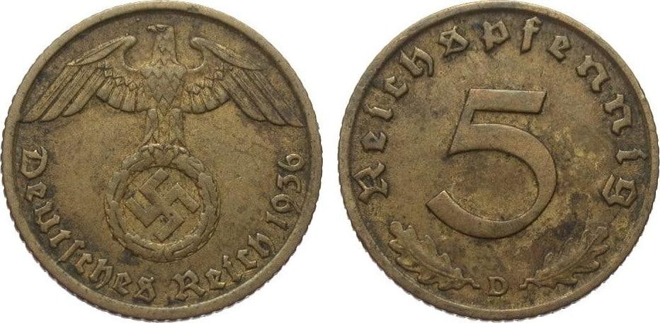Alemania- 5 Reichspfennig 1936 D Drittes_Reich_5_Pfennig_1936_D