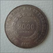 2000 Reis 1856 Brasil Pedro II Image