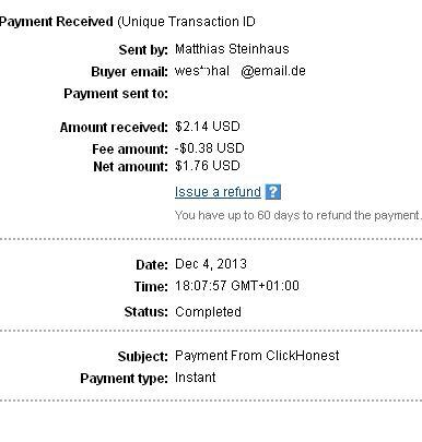 1º Pago de Clickhonest ( $2,14 ) Clickhonestpayment