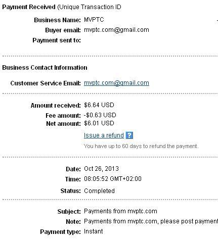 1º Pago de MVptc ( $6,64 ) Mvptcpayment