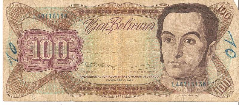 100 Bolívares Venezuela, 1992  Image