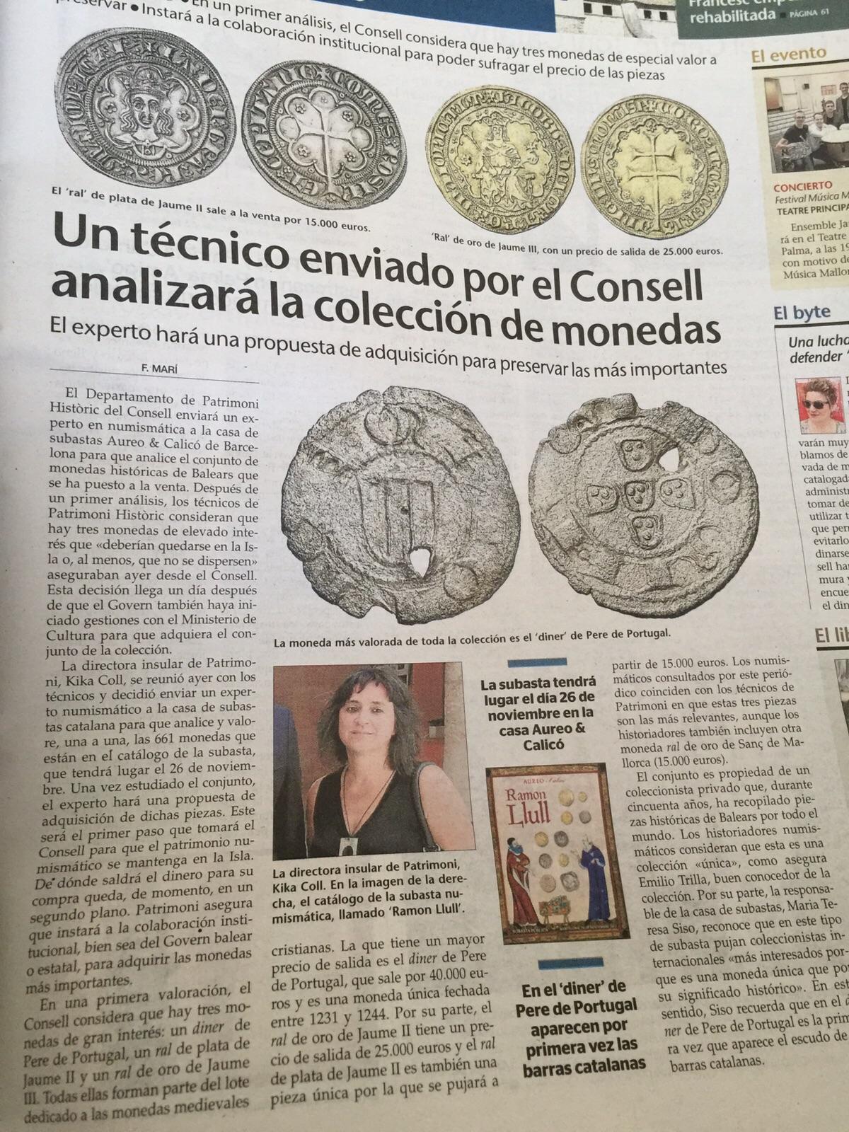 """Subasta Aureo y Calicó 26 de noviembre """"Ramón Llull"""" moneda mallorquina - Página 2 Image"""
