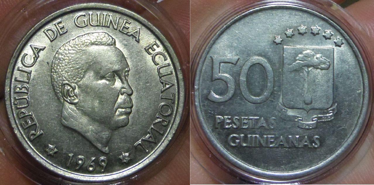 50 Pesetas Guineanas. Francisco Macías Nguema. República de Guinea Ecuatorial. 1969. Madrid. IMGP4053