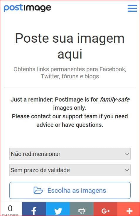 TUTORIAL: Inserir (hospedar) imagens e fotos em suas mensagens (2017 - PostImage) Postar_Imagem