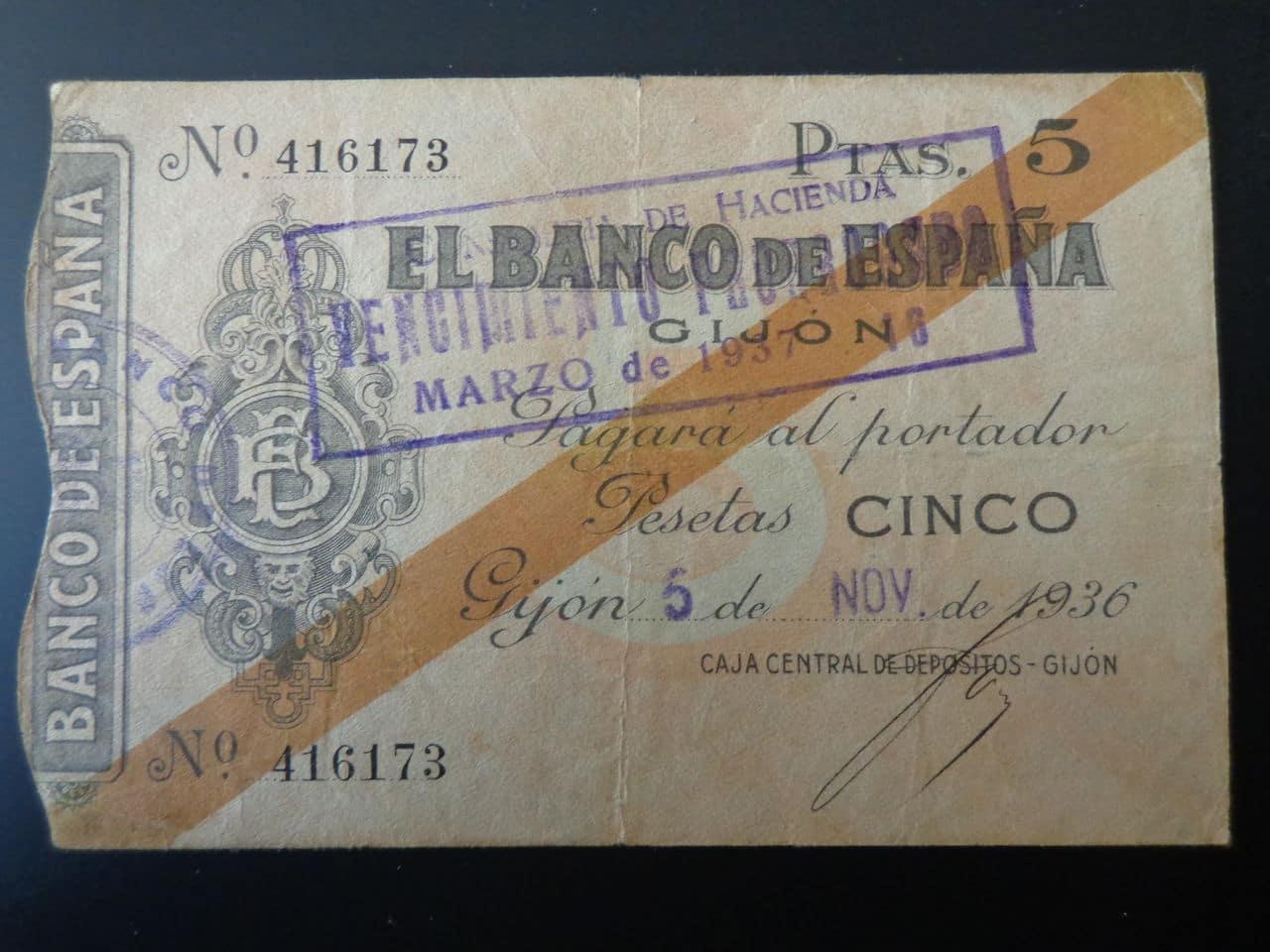 5 Pesetas 5 Noviembre 1936, Banco de España (Gijón)  DSC00668
