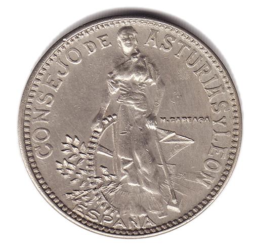 """""""LA FLORA"""" DEL CONSEJO DE ASTURIAS Y LEON (Variantes de las 2 pesetas año 1937) Flora"""