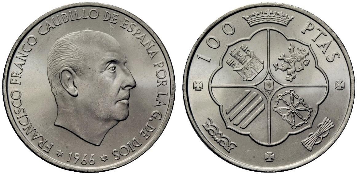 100 Pesetas 1966*69 PALO RECTO Image
