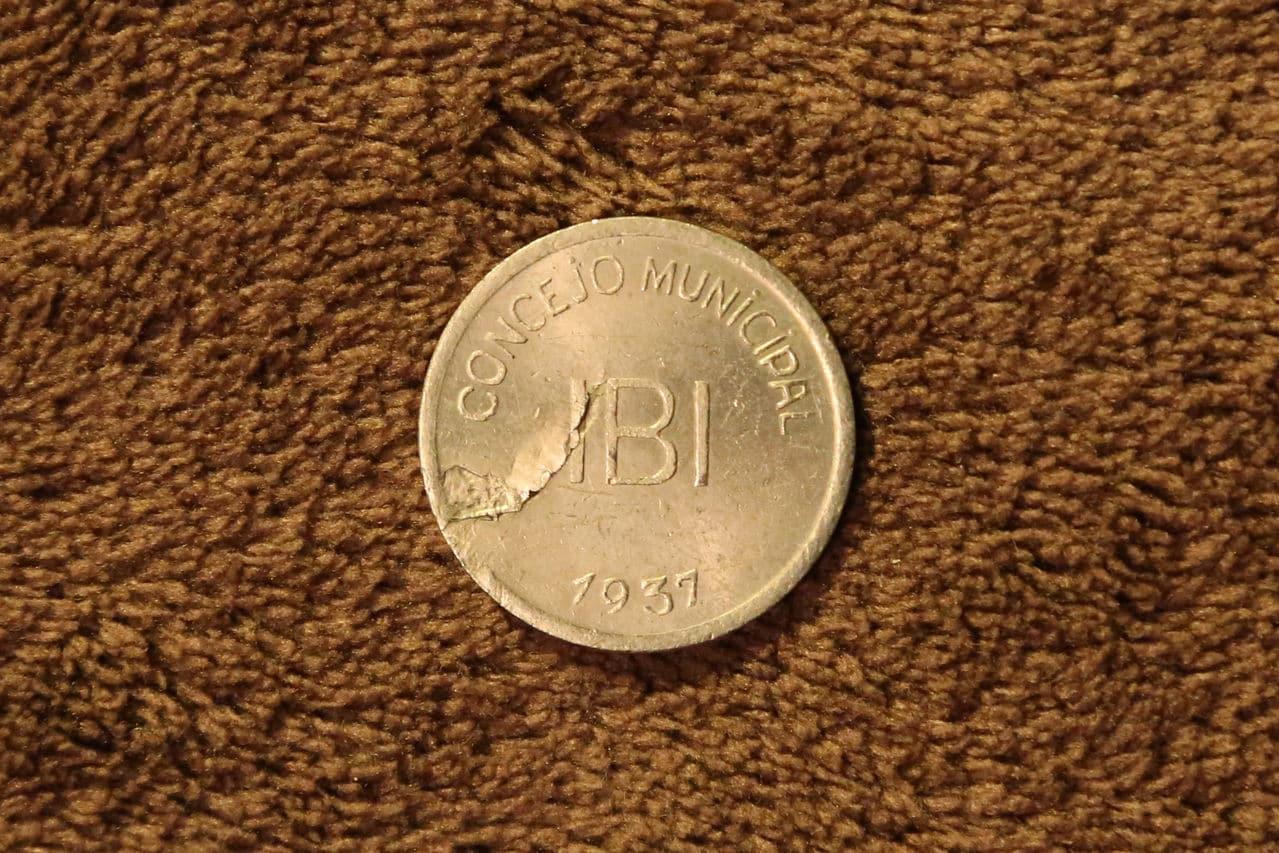 Pruebas de las monedas de 1 peseta de Ibi en níquel Anverso_OF7_A0711