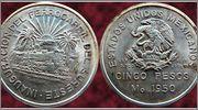 5 Pesos - Mexico 1950 - Inauguracion del Ferrocarril del Sureste Moneda
