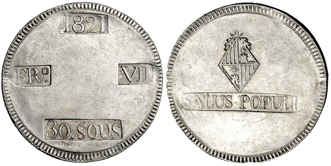30 Sous 1821. Fernando VII. Palma de Mallorca. 30_Sous_1821
