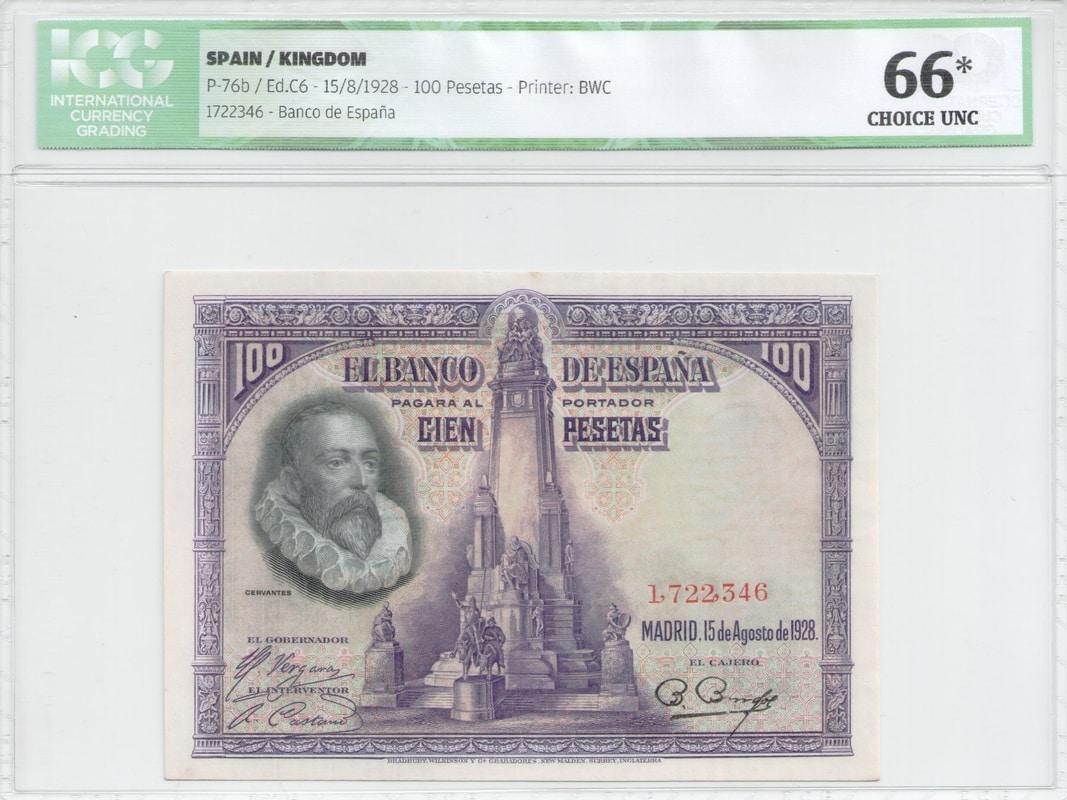 Colección de billetes españoles, sin serie o serie A de Sefcor Cervantesanverso