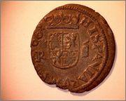 8 maravedis 1663. Felipe IV. Coruña. 243b