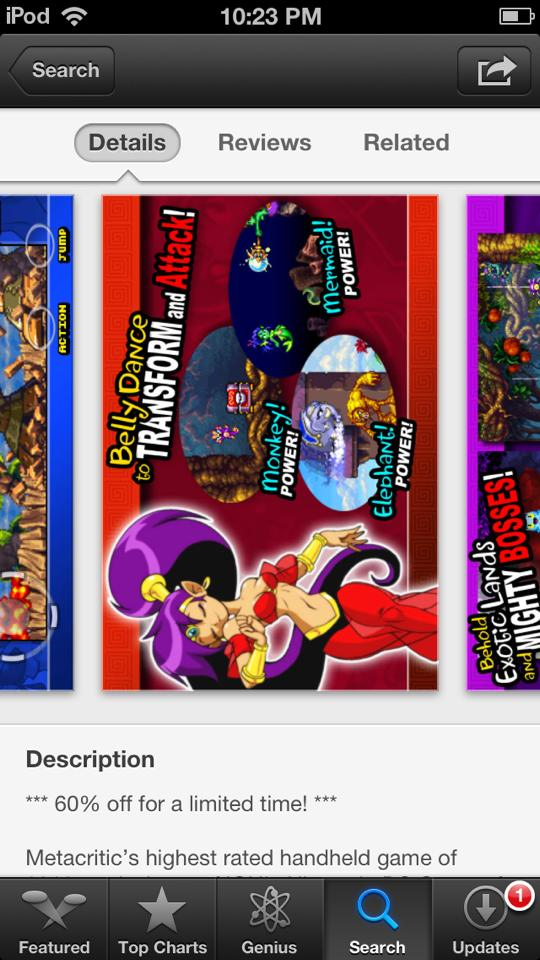 Where can I find the picture of Shantae used in this screenshot from the app store? 1170690_4580814258709_210855335_n