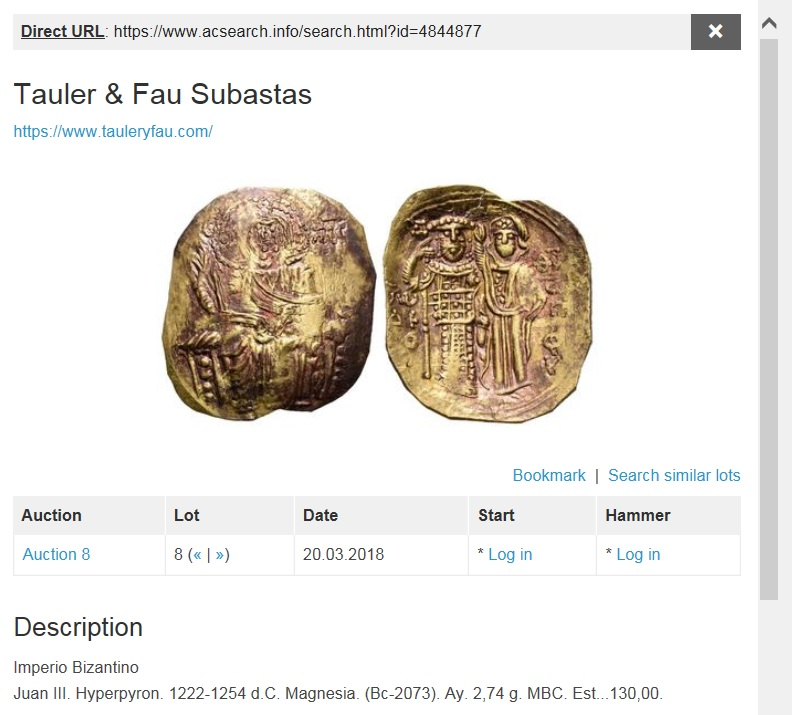 Tauler & Fau 19/06/2018. Otra vez subastando un Hyperpyron de Juan III falso. Tguj8t4t8ut8uy6t