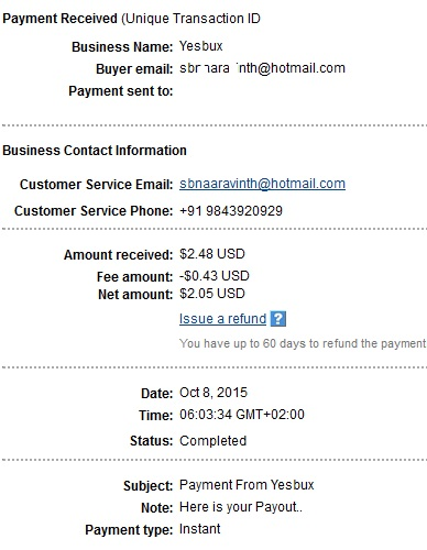 1º Pago de Yesbux ( $2,48 ) Yesbuxpayment