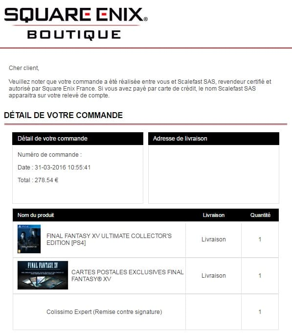 Final fantasy XV collector et ultimate collector !  - Page 5 Confirm