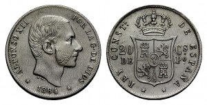 20 céntimos Alfonso XII 1884 Image