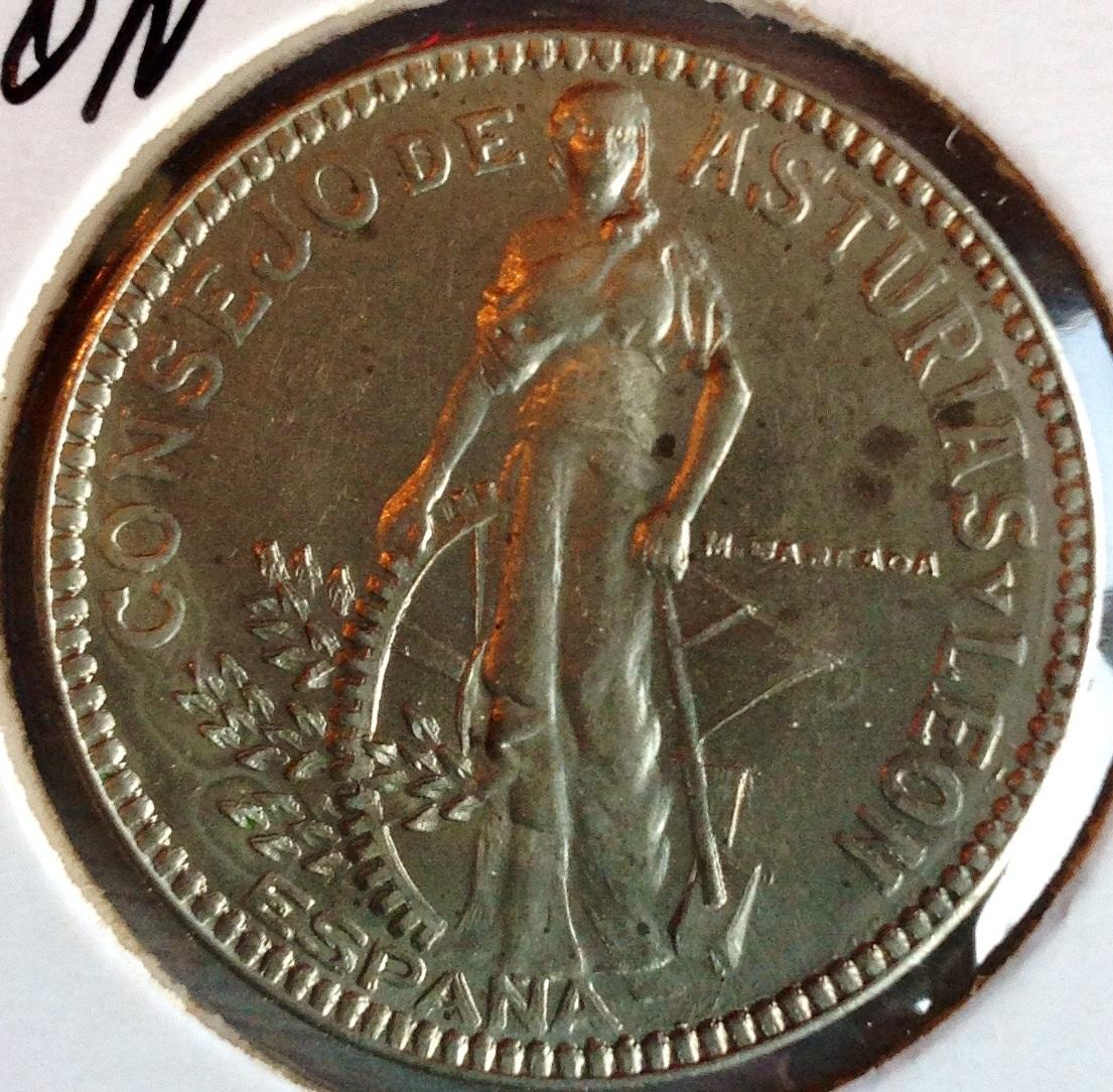 2 pesetas 1937 Cosejo de Asturias y León Image