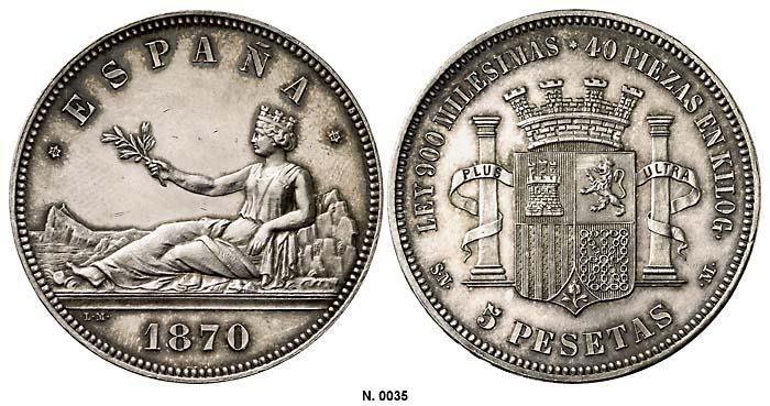 Gobierno Provisional - 5 pesetas - ¿Cuño diferente? 1870_EBC