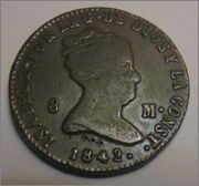 8 Maravedis 1842 Isabel II segovia 8_maravedis_isabel_1842_anverso