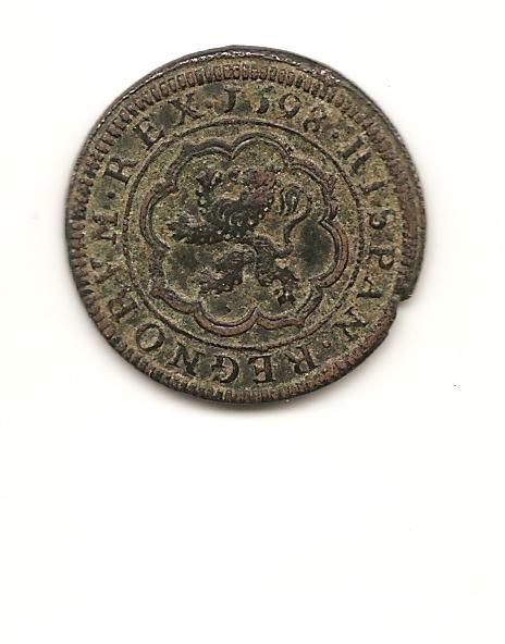 4 maravedís de Felipe II tipo OMNIVM de 1598 Image