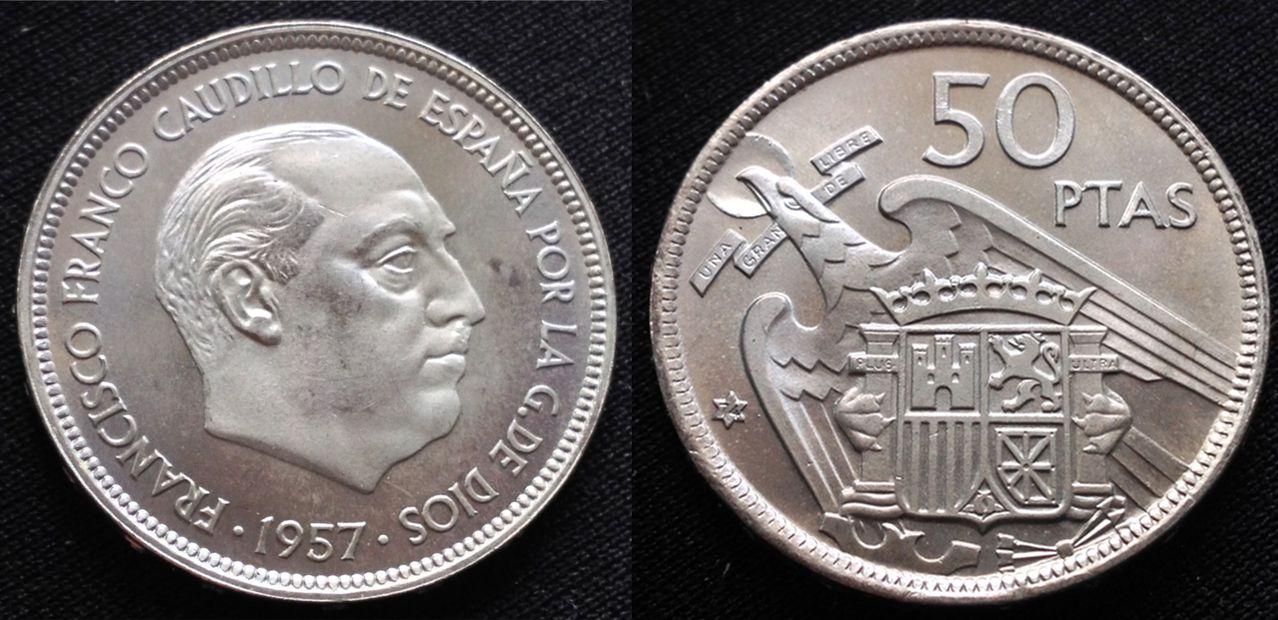 50 pesetas 1957 *74- Estado Español- Dedicada a Cancerbero 50_pesetas_1957_74