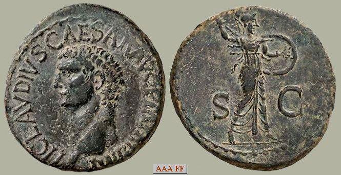 As de Claudio I. S C. S C. Minerva en marcha a dcha. Ceca Roma. Image